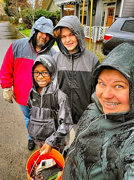 COURTESY OF RYLEE OBRIEN - The corps of Adopt One Block volunteer Block Ambassadors include the Branstrom OBrien family of Woodstock, pictured here - who show stewardship and care for their block and neighborhood by regularly picking up litter.