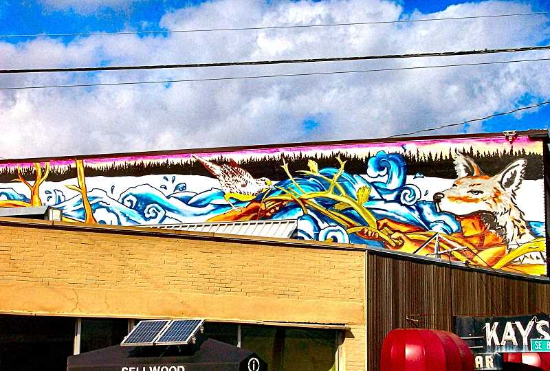 RITA A. LEONARD - This hidden mural at S.E. Milwaukie Avenue at Bybee Boulevard - two stories up, and set back from the intersection - depicts Native American legends of how Willamette Falls at Oregon City was created.
