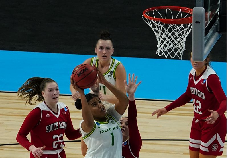 COURTESY PHOTO: NCAA PHOTOS - Nyara Sabally goes up for two of her 17 points to help Oregon sink South Dakota on Monday in the first round of the NCAA Women's Basketball Tournament.