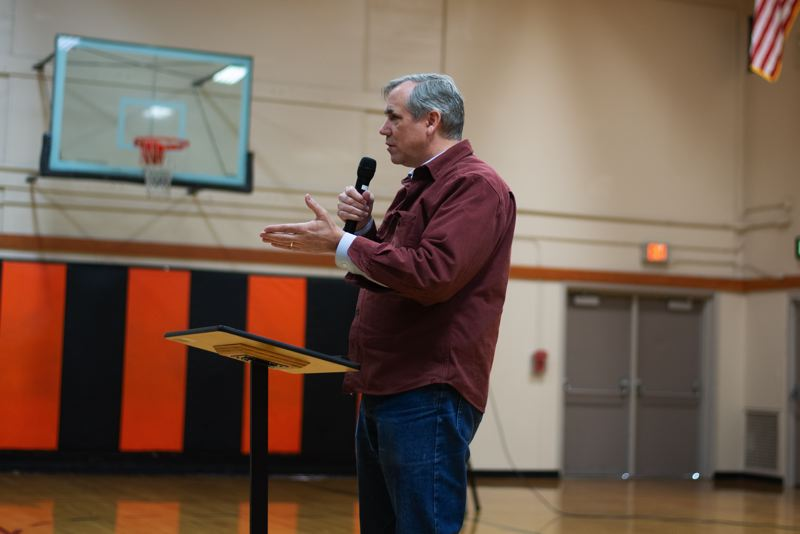 PMG PHOTO: ANNA DEL SAVIO - U.S. Senator Jeff Merkley speaks at Scappoose Middle School in 2019. Merkley held another Columbia County town hall last week, albeit in a virtual format.