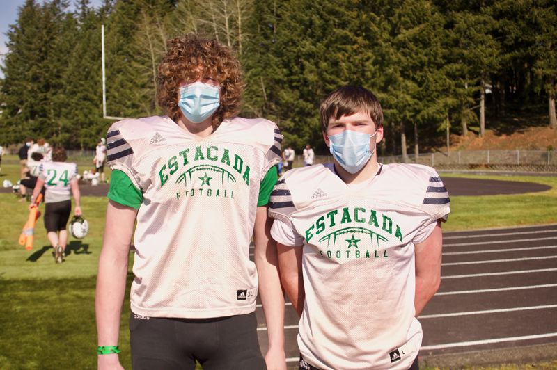 PMG PHOTO: CHRISTOPHER KEIZUR - Seniors Justin Lang and Isaiah Schaffer are leading Estacada football through a shortened spring season. The Rangers are 2-1 after routing the past two opponents.
