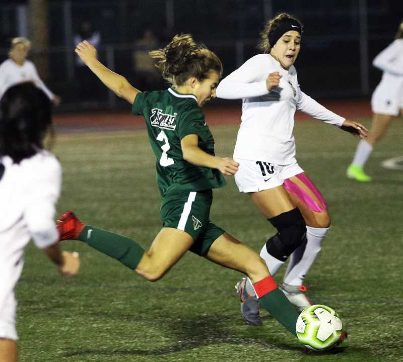 PMG FILE PHOTO - Lydia Emory (2), a returning senior midfielder, is one of this years standouts for the Tigard Tigards.