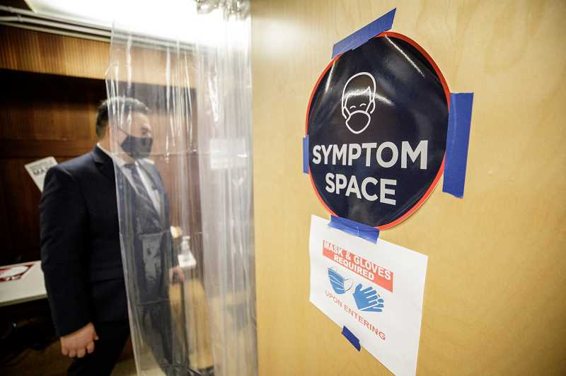 PMG PHOTO: JONATHAN HOUSE - Portland Public Schools Superintendent Guadalupe Guerrero inspects a symptom room at Jason Lee Elementary School Friday, March 19. Schools in the district have been preparing campuses for the return of students and staff in April.