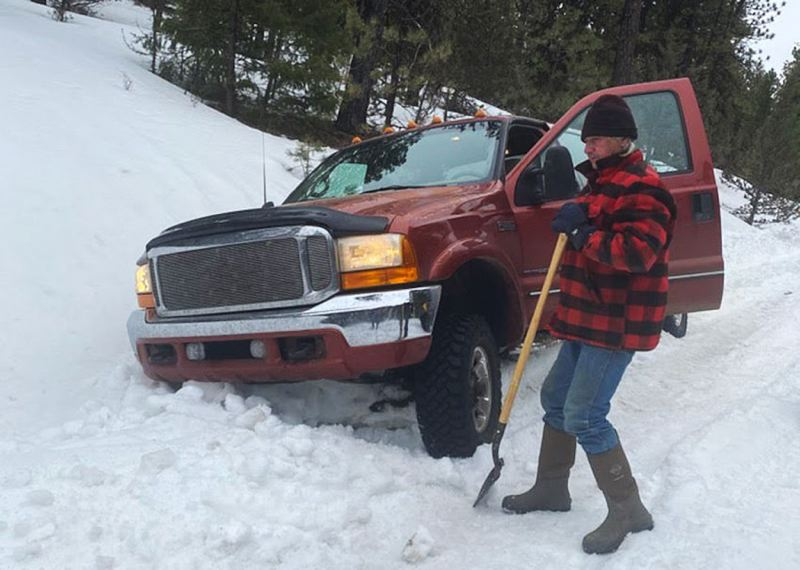 Ronald working on getting his truck free