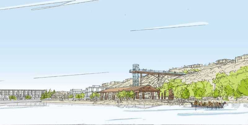 COURTESY RENDERING - A perspective sketch from the lagoon above Willamette Falls looks north across a section of the former paper-mill site now proposed for removal and riverbank restoration.