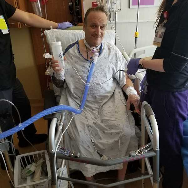 COURTESY PHOTO: JULI REHMER - Rick Barde, shown here at OHSU, spent eight weeks in the hospital battling COVID-19 before being transfered to a rehabilitation center.
