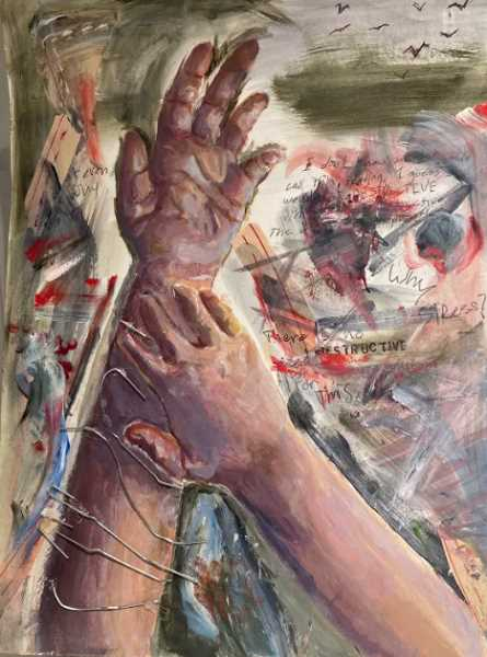 COURTESY PHOTO - Clackamas High School sophomore Bella Ricoy's 'Just a Little Scratch' won a mixed-media prize from the Oregon Scholastic Awards.