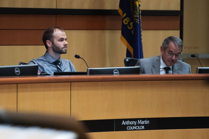 PMG FILE PHOTO: - Hillsboro city councilors Anthony Martin, left, and Rick Van Beveren pictured at a city council meeting prior to the pandemic.
