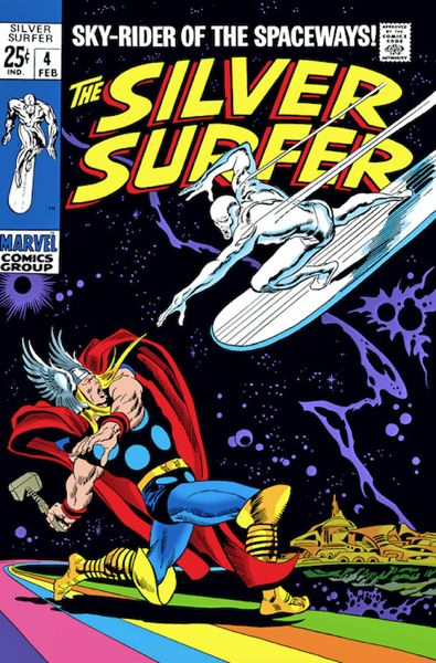 COURTESY IMAGE: DANA HAYNES - John Buscema's famous cover for 'Silver Surfer' Issue No. 4, 1968. Rather than show the 'boom' of the coming blows, Buscema focused on the linear speed of the Surfer vs. Thor's powerful windup. This will be a terrible impact. Buscema doesn't have to show it to us, he lets us imagine it. Now, that's storytelling.