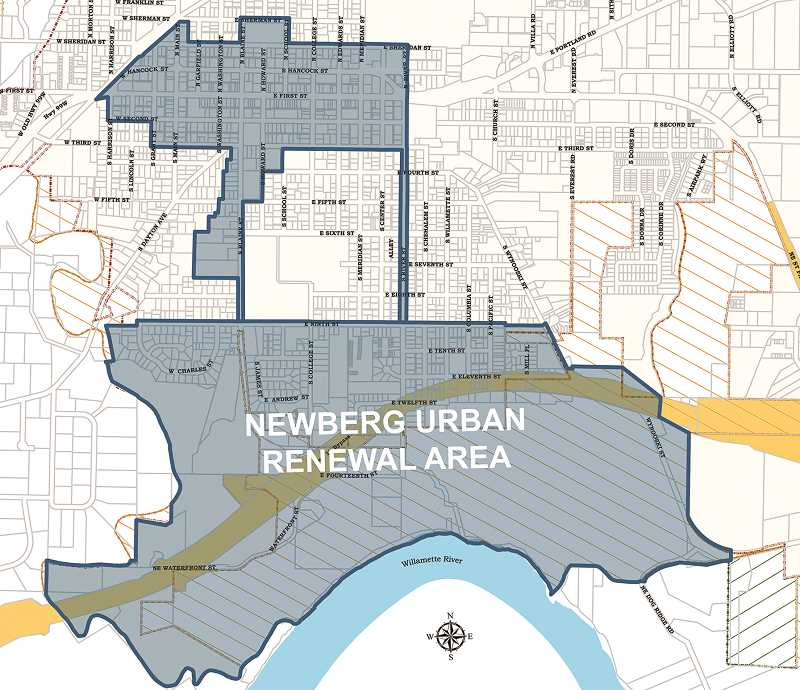 COURTESY RENDERING: CITY OF NEWBERG - As envisioned, the urban renewal plan will include a large swath of southern Newberg from Ninth Street on the north to the Willamette River on the south, Wynooski Street on the east and nearly to Dayton Avenue on the west.
