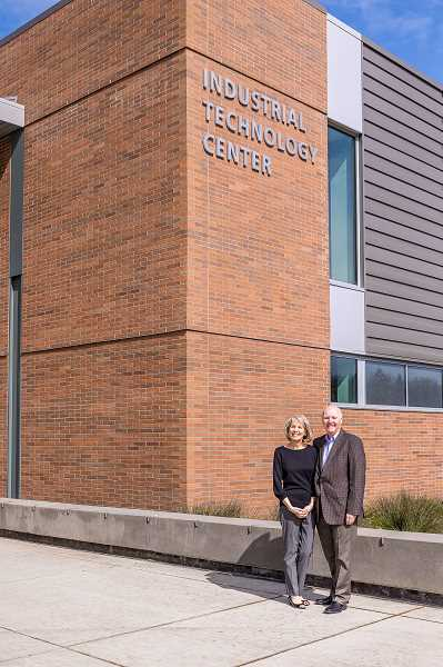 COURTESY PHOTO: CCC - As a thank you to Cheryl and Terry Holden for their $5 million gift to Clackamas Community College, the college will rename the Industrial Technology Center the Holden Industrial Technology Center.