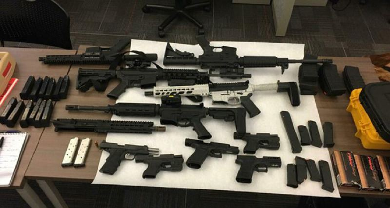 COPURTESY PHOTO: KOIN 6 NEWS - Firearms recently recovered from crime scenes in the Portland area.