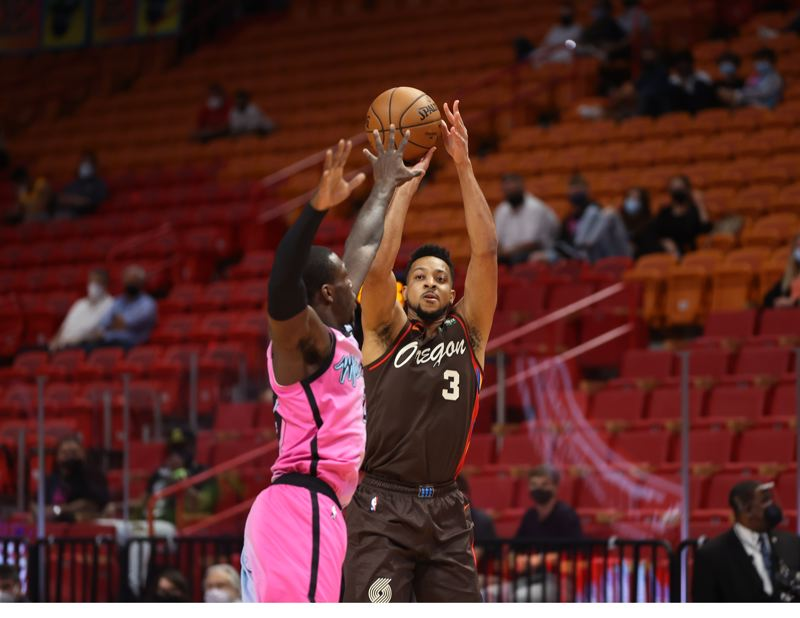 COURTESY PHOTO: BRUCE ELY/TRAIL BLAZERS - CJ McCollum's 35 points helped Portland beat Miami 125-122 in the first of four consecutive road games.