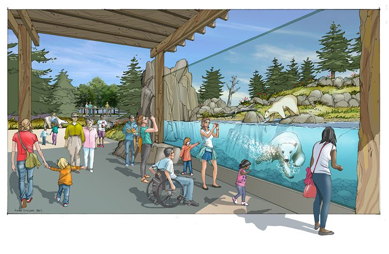 COURTESY RENDERING: OREGON ZOO - Visitors will have plenty of vantages to see Nora at the Oregon Zoo's Polar Passage habitat.