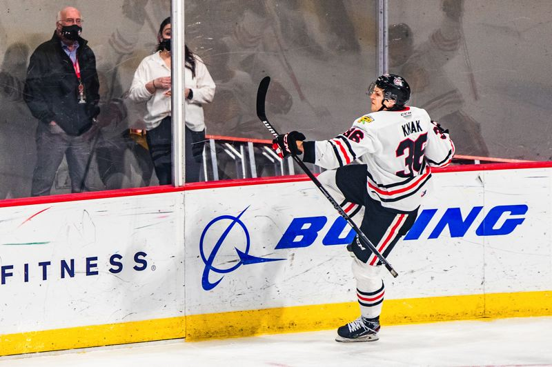 COURTESY PHOTO: MATT WOLFE/PORTLAND WINTERHAWKS - Simon Knak reacts after scoring a shorthanded goal for the Portland Winterhawks on Friday in their first game of the season at Veterans Memorial Coliseum. The Everett Silvertips won the game 2-1 in overtime.