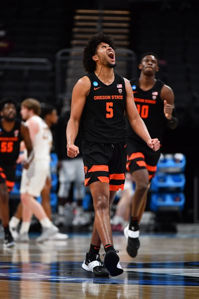 COURTESY PHOTO: NCAA PHOTOS - Ethan Thompson celebrates a basket in Oregon State's Sweet 16 win. He celebrate a lot of baskets, scoring 22 points.