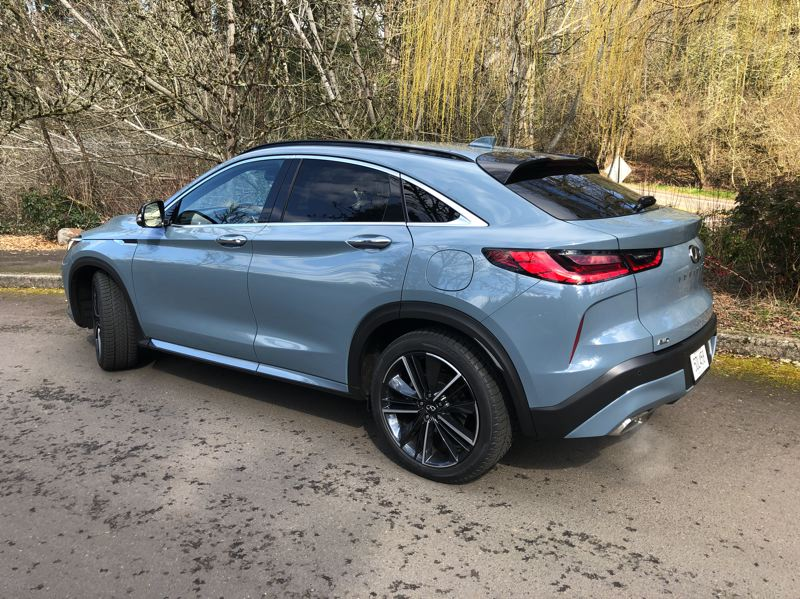 PMG PHOTO: JEFF ZURSCHMEIDE - The sharply angled rear hatch gives the 2022 Infiniti QX55 that utility of a wagon.