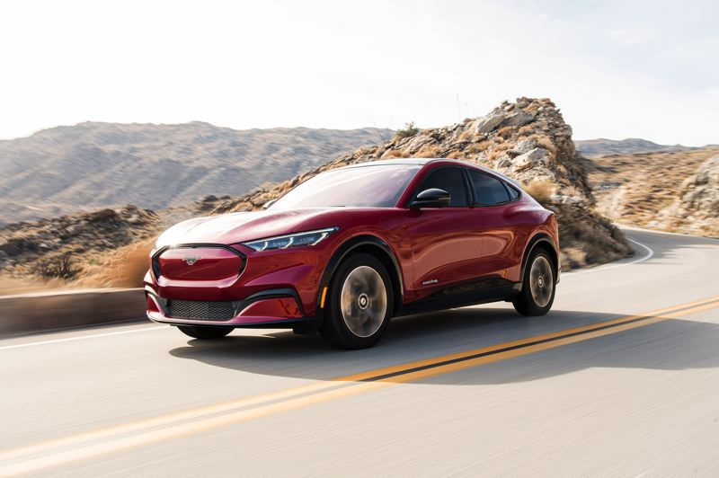 COURTESY PHOTO: FORD MOTOR COMPANY - Although it is an all-electric crossover, the Ford Mustang styling cues are unmistakable on the 2021 Mach-E.