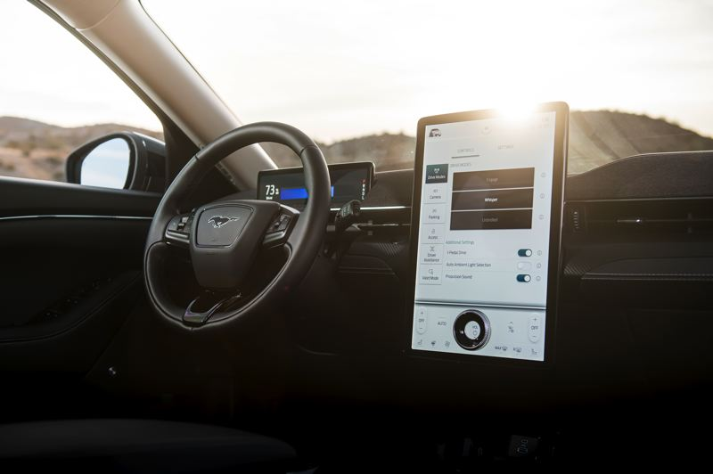 COURTESY FORD MOTOR COMPANY - The large display screen is part of the advance technology in the 2021 Ford Mustang Mach-E.