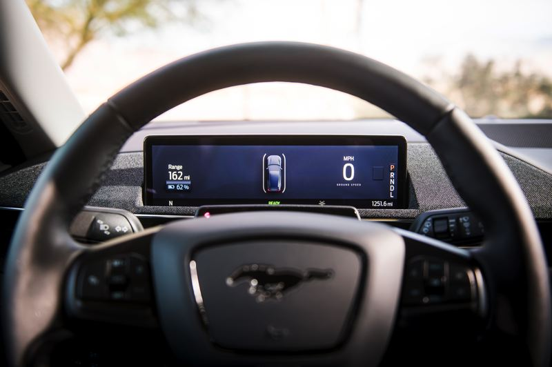 COURTESY FORD MOTOR COMPANY - Traditional Mustang gauges have been replaced by a dispaly screeon in the 2021 Mach-E.