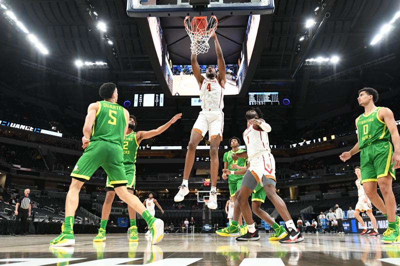 COURTESY PHOTO: NCAA PHOTOS - USC shot well from the outside, and could rely on the Mobley brothers, including Evan, on the inside.