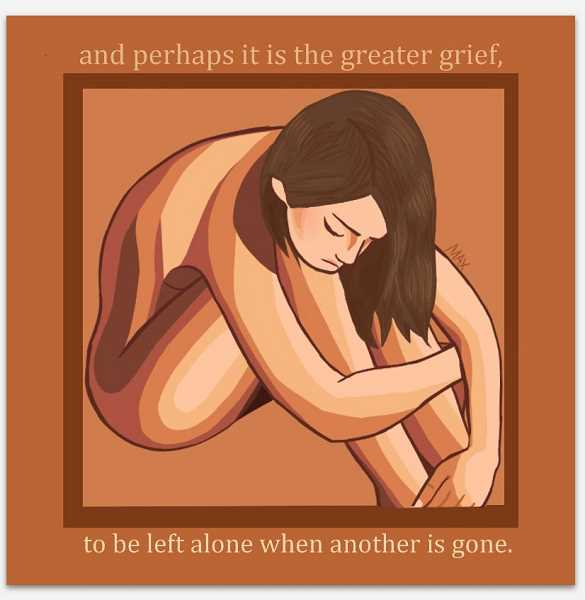 Maxx Sell's 'Greater Grief' is a digital image with words from 'Song of Achilles,' a recent popular novel.