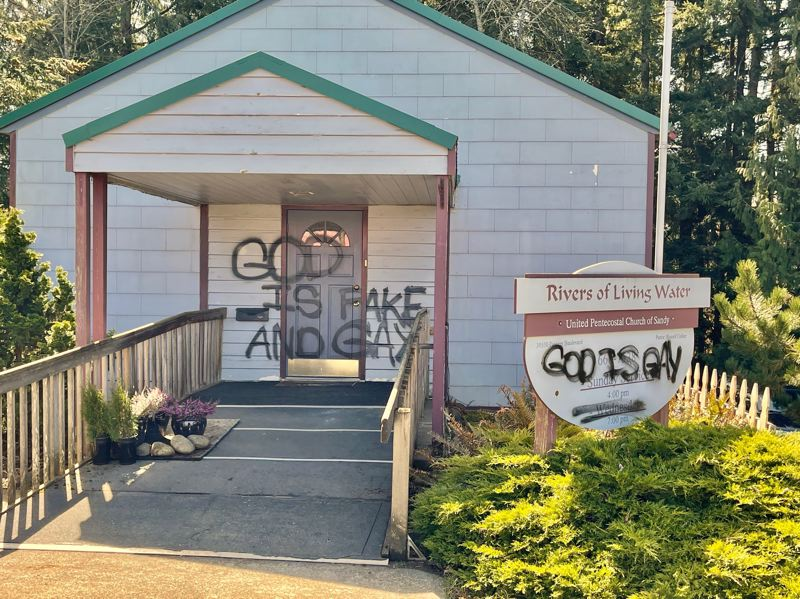 COURTESY PHOTO: RIVERS OF LIVING WATER UNITED PENTECOSTAL CHURCH - Early in the morning on Saturday, March 27, Pastor Russell Collier says he was alerted to the vandalism of his church.