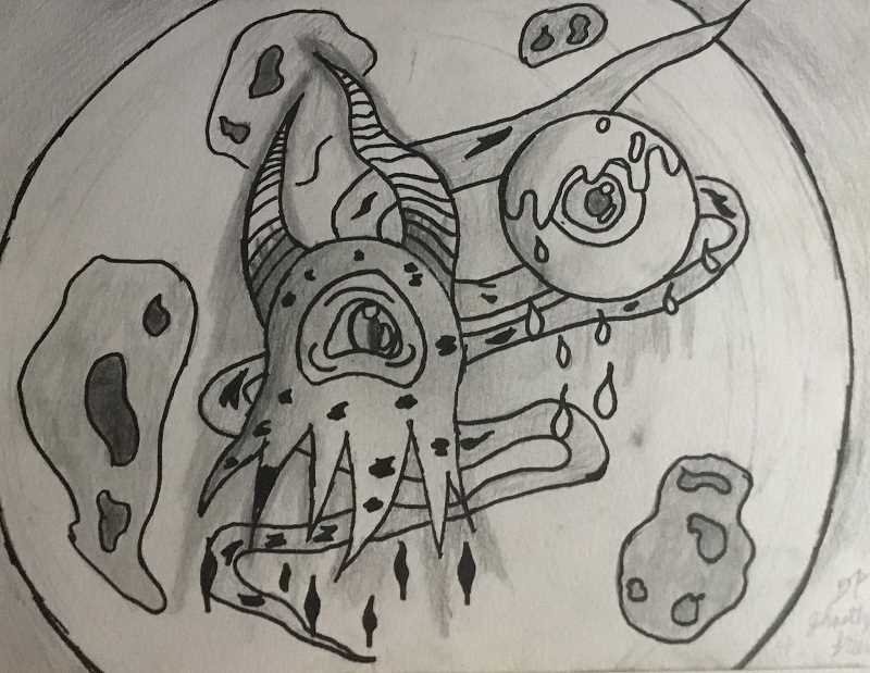 Baker Prairie eighth grader Davan Page is featured in the art show with this drawing 'Ghastly Friends.'