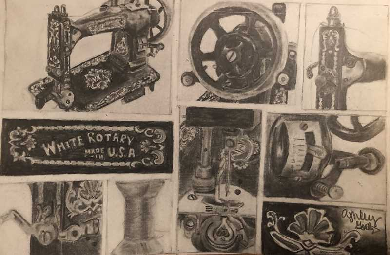 Molalla junior Ashley Goetz made it into the show with her graphite drawings of her grandfather's sewing machine.
