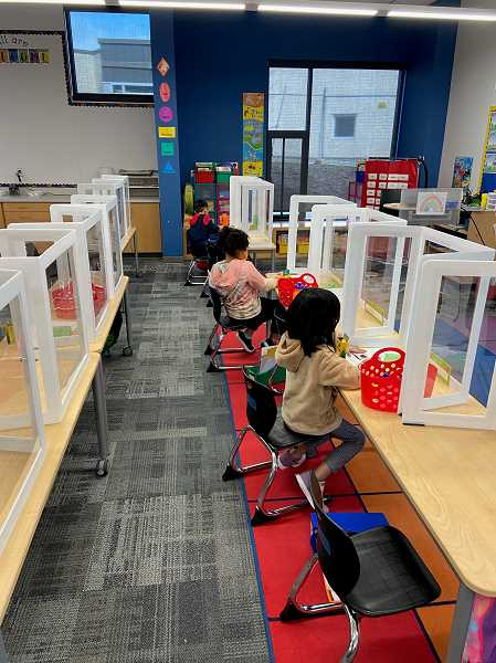 COURTESY PHOTO: TIGARD-TUALATIN SCHOOL DISTRICT - Kindergartners and first-graders were the first students to return to Templeton Elementary School classrooms in a year on March 29.