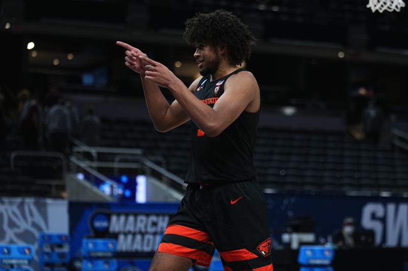 COURTESY PHOTO: NCAA PHOTOS - Ethan Thompson's leadership and competitive fire led the Oregon State Beavers to the brink of the Final Four, a run that has the program pointed in a positive directiion.