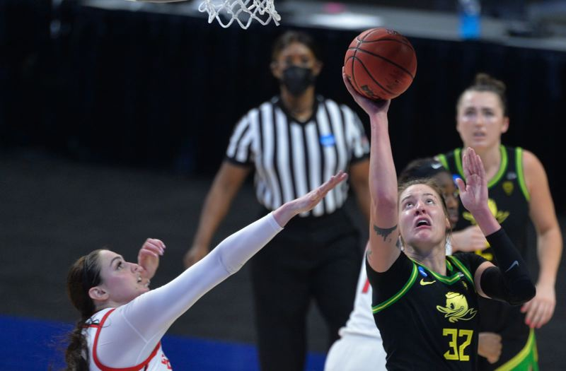 COURTESY PHOTO: MARK SOBHANI/NCAA PHOTOS - Finally healthy, Oregon's Sedona Prince (32) established herself as a voice for equal treatment for female athletes and as a impactful post player during the NCAA Women's Basketball Tournament.