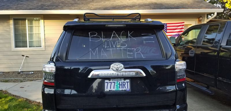 COURTESY PHOTO: MIRELLA CASTANEDA - Mirella Castaneda painted a large 'Black Lives Matter' on the rear window of her Toyota 4Runner last summer after George Floyd's killing and '#BLM' on its side windows. The winter rains have since washed off the paint.