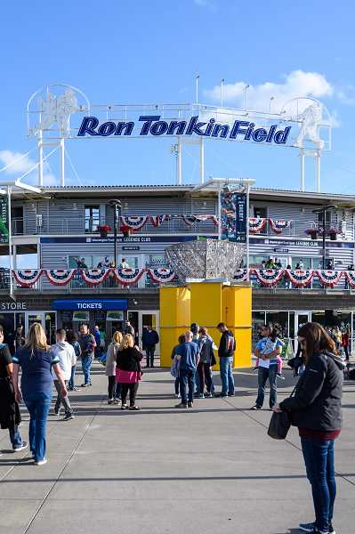 PMG FILE PHOTO - Fans file-in to Ron Tonkin Field for a Hops game in 2019. The Hops will be sharing the facility with the Vancouver Canadians during the 2021 NWL season.
