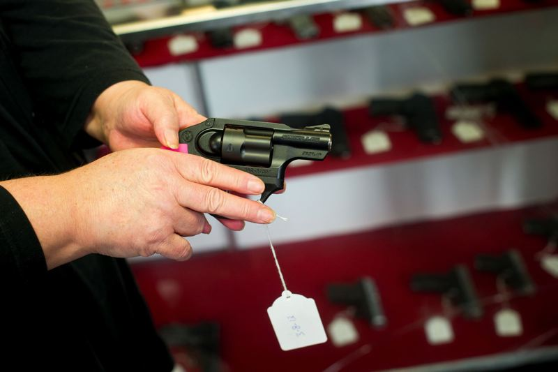 PMG FILE PHOTO - A firearm displayed at a local gun shop is shown here.