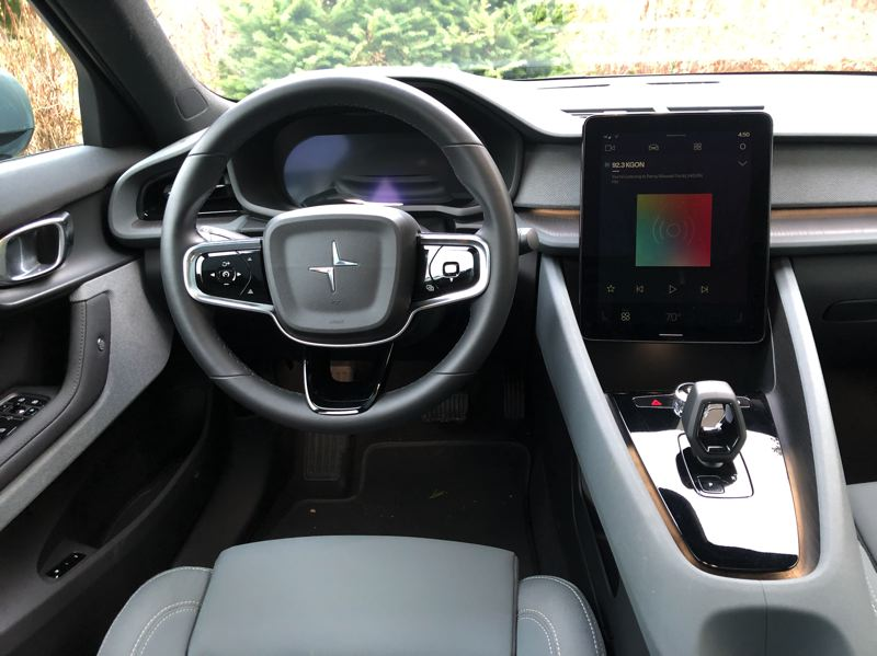 PMG PHOTO: JEFF ZURSCHMEIDE - One of the big deals with the Polestar 2 is the technology package. Polestar essentially put a large touchscreen tablet in the middle of the dash, and the Polestar 2 is the first vehicle to run on the Android Automotive operating system.