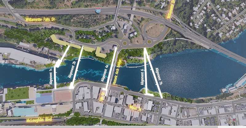 COURTESY PHOTO: ODOT ONLINE OPEN HOUSE - ODOT and partner agencies have proposed five possible alignments for a bike and pedestrian bridge spanning the Willamette River between West Linn and Oregon City.