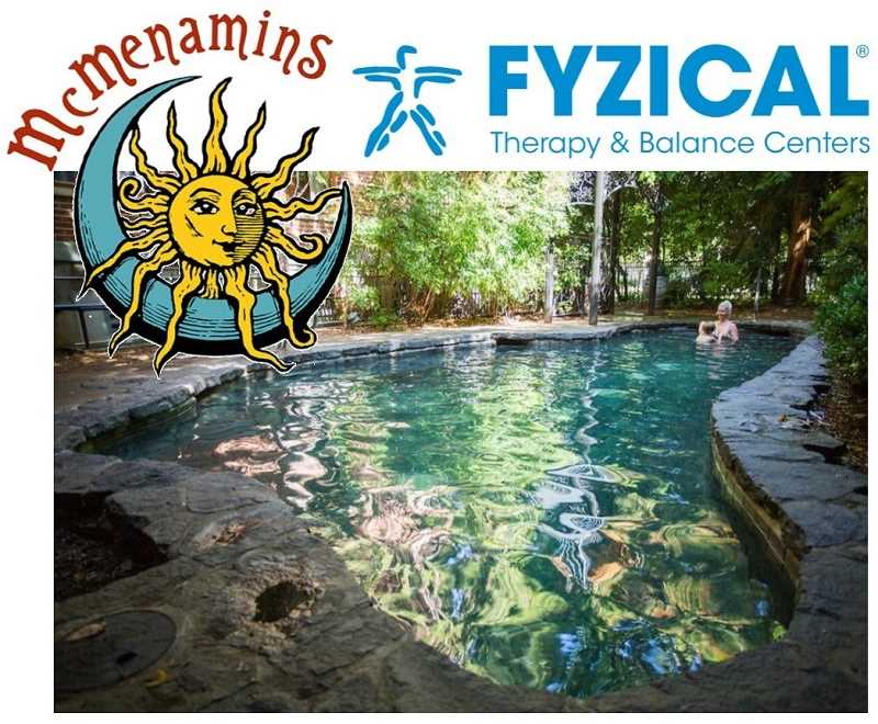 The Staycation package includes a massage from Fyzical Therapy and Balance Centers and a night at McMenamins Grand Lodge. Just look at that soaking pool!