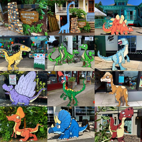 COURTESY PHOTO: MIKE BENNETT - Mike Bennett created wooden cutouts of dinosaurs that were displayed on Alberta Street. Next he'll introduce sea creatures in 'A, B, Sea' in the yard of his home in Northeast Portland.