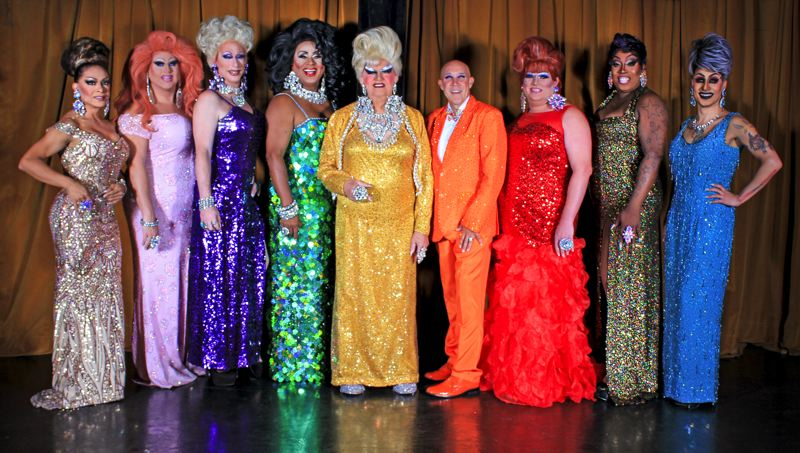 COURTESY PHOTO - The famous drag queen Darcelle (center), along with Poison Waters (on her right) and other performers from Darcelle XV Showplace, will do an outdoor show at Zidell Yards, April 9-11. Poison Waters and club contributor 'Mr. Mitchell' (on Darcelle's left) have been with Darcelle the longest among members.