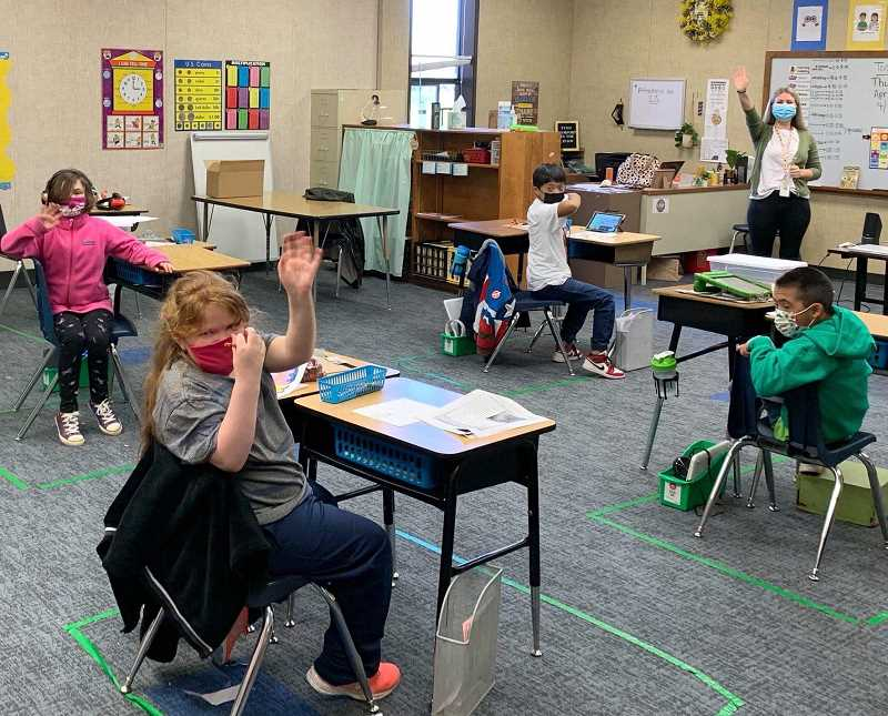 COURTESY PHOTO: OCSD - Oregon City elementary school students were excited to see their teachers in person for the first time in over a year.