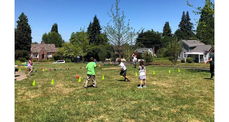 COURTESY PHOTO - Students in a park in Oregon City enjoy participating in the city's supervised camps.