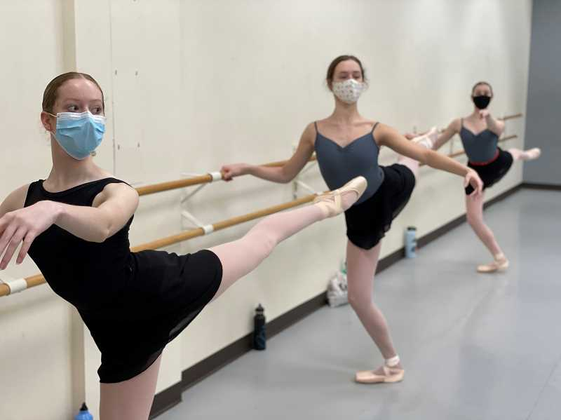 COURTESY PHOTO: SULTANOV RUSSIAN BALLET ACADEMY - Students practicing at the Sultanov Russian Ballet Academy in Beaverton. Dancers are required to wear masks to help stop the spread of COVID-19.