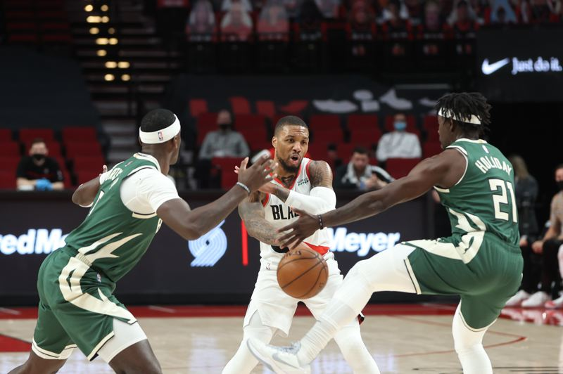 COURTESY PHOTO: BRUCE ELY/TRAIL BLAZERS - Damian Lillard and the Trail Blazers had a tough time penetrating Milwaukee's defense Friday.