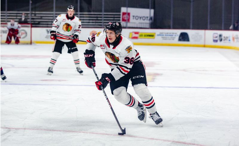 COURTESY PHOTO:MEGAN CONNELLY/PORTLAND WINTERHAWKS - Simon Knak carries the puck up the ice on Friday, April 2, at Veterans Memorial Coliseum. Knak scored two goals in the Winterhawks' 6-2 win over the Tri-City Americans.