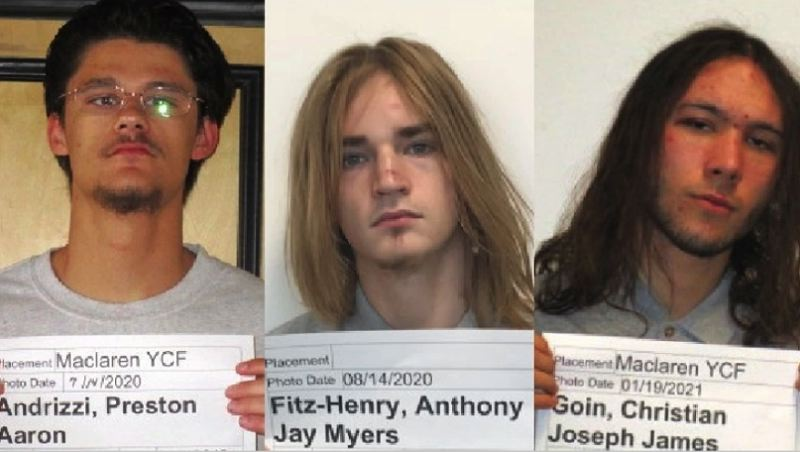 VIA KOIN - Preston Andrizzi, Anthony Fitz-Henry and Christian Goin in photos released by the Oregon Youth Authority.