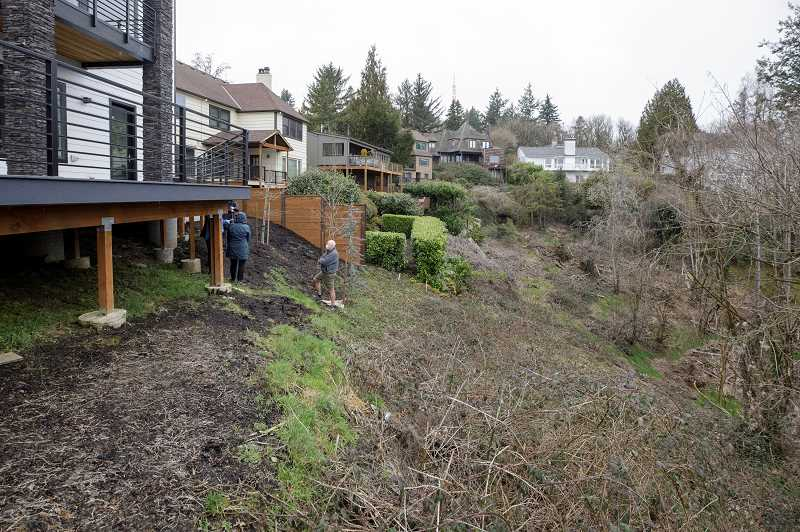 PMG PHOTO: JONATHAN HOUSE - A hillside on Menefee Drive in Southwest Portland's Hillsdale neighborhood is part of an environmental overlay zone. The city is currently reviewing a request to construct a new home on the undeveloped land.