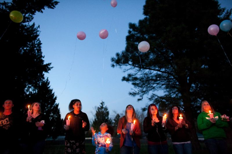 PMG FILE PHOTO - Relatives and friends of Miranda Gaddis held a 2012 vigil and balloon release on the 10th anniversary of her disappearance at the site of Ward Weaver's former house.