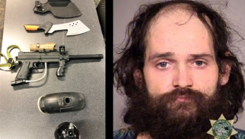 COURTESY PHOTO: PPB - Randy Graves and the weapons seized from him.