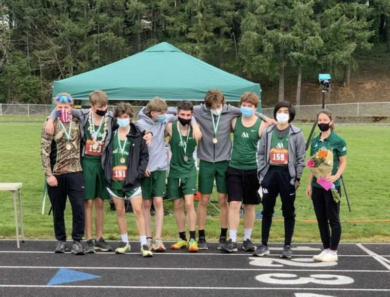 COURTESY PHOTO: ALLISSA ALVORD - The North Marion boys cross country team placed second at the Tri-Valley meet last week, punching their ticket to the 4A cross country state championship held at Marist High School in Eugene on Saturday.